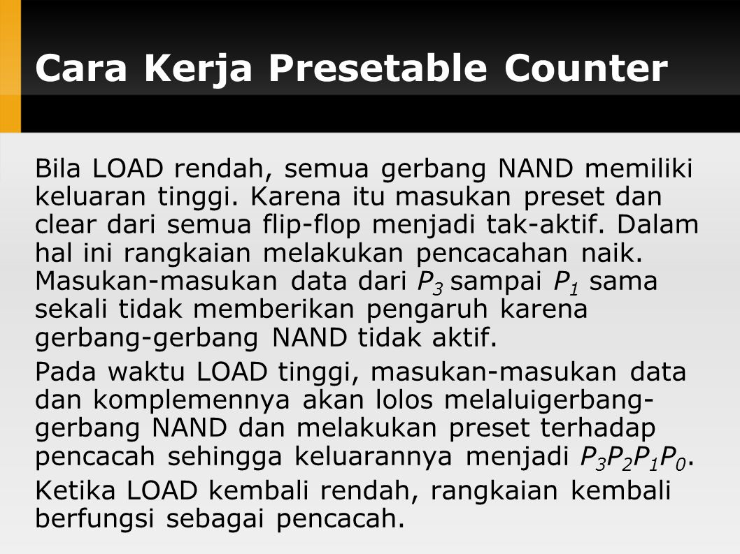 Cara Kerja Presetable Counter