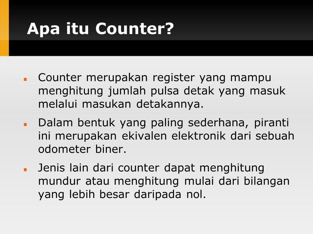 Apa itu Counter Counter merupakan register yang mampu menghitung jumlah pulsa detak yang masuk melalui masukan detakannya.