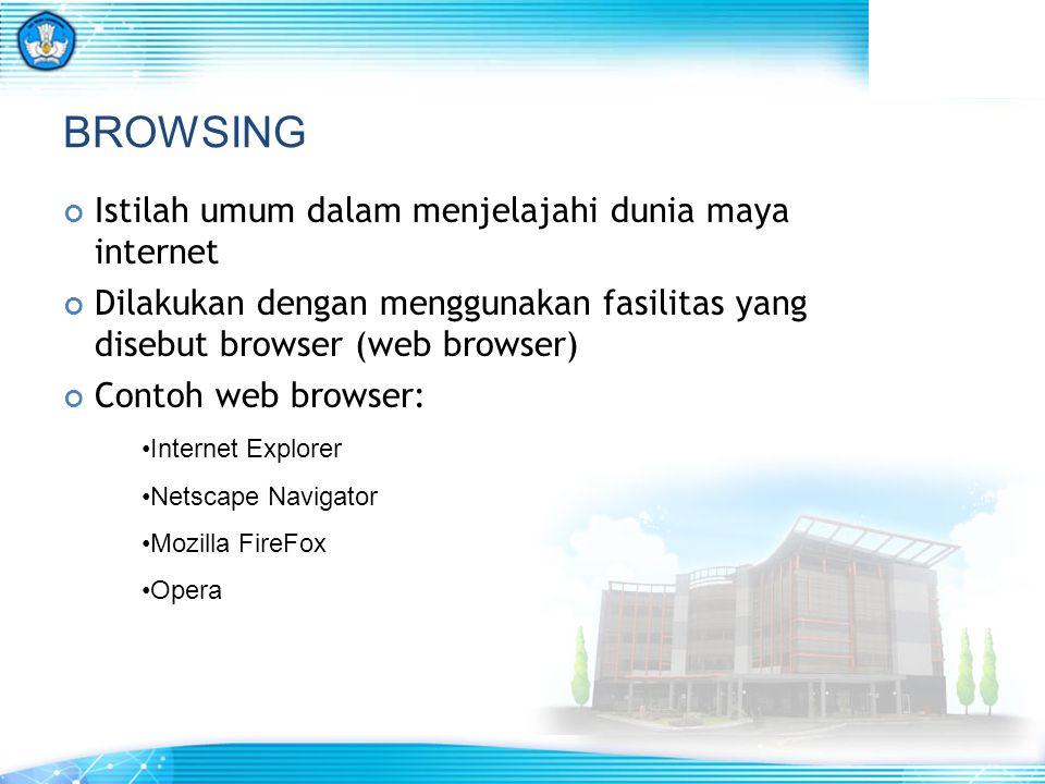 BROWSING Istilah umum dalam menjelajahi dunia maya internet