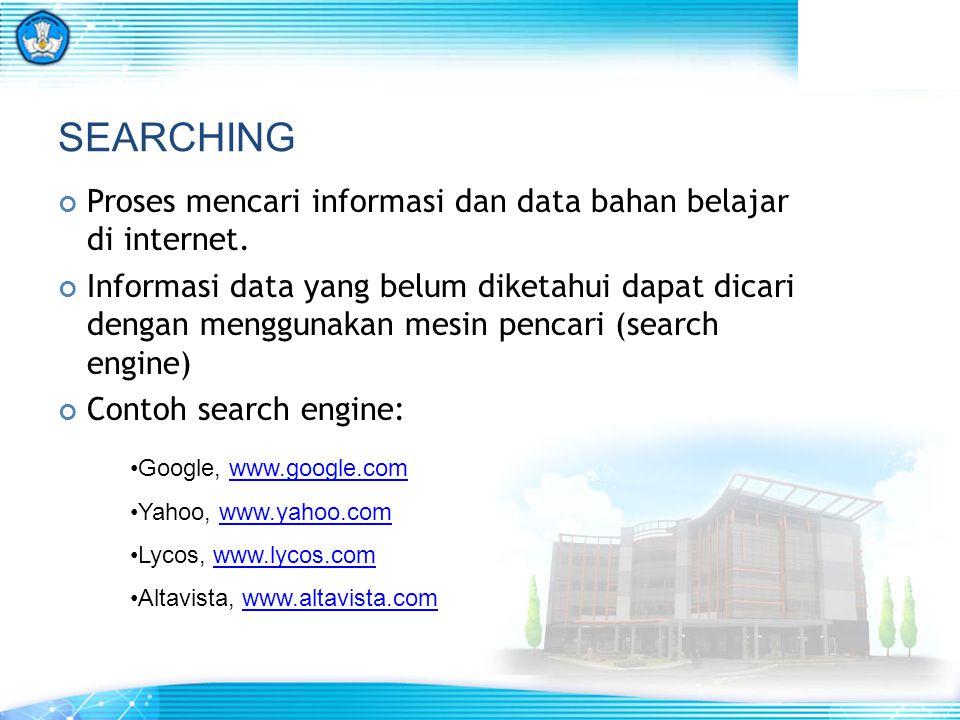 SEARCHING Proses mencari informasi dan data bahan belajar di internet.