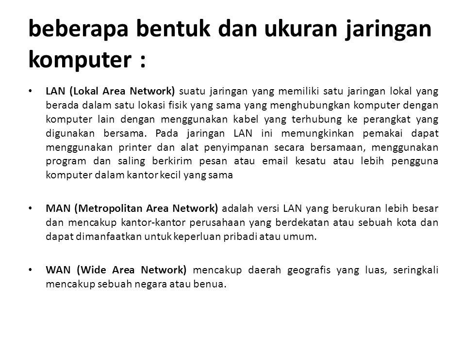 beberapa bentuk dan ukuran jaringan komputer :