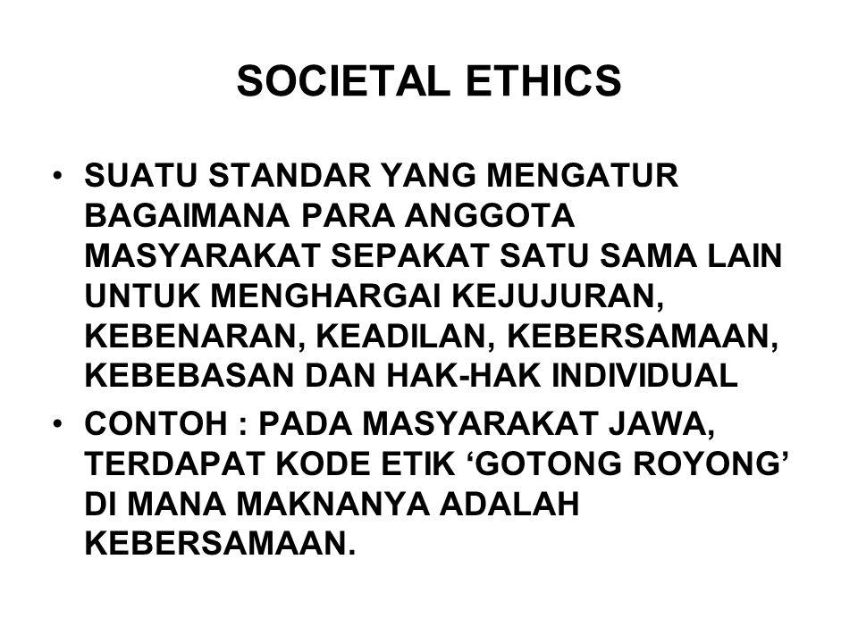 SOCIETAL ETHICS