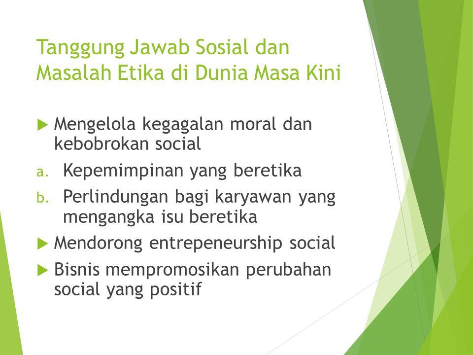 Tanggung Jawab Sosial dan Masalah Etika di Dunia Masa Kini