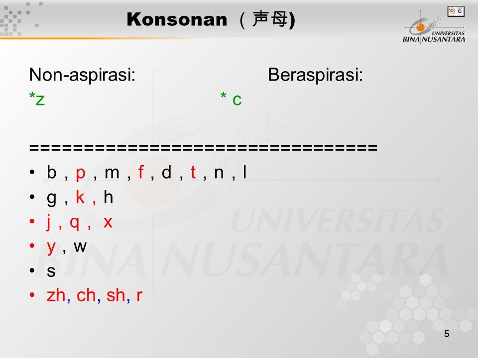 Konsonan (声母) Non-aspirasi: Beraspirasi: *z * c. ================================ b,p,m,f,d,t,n,l.
