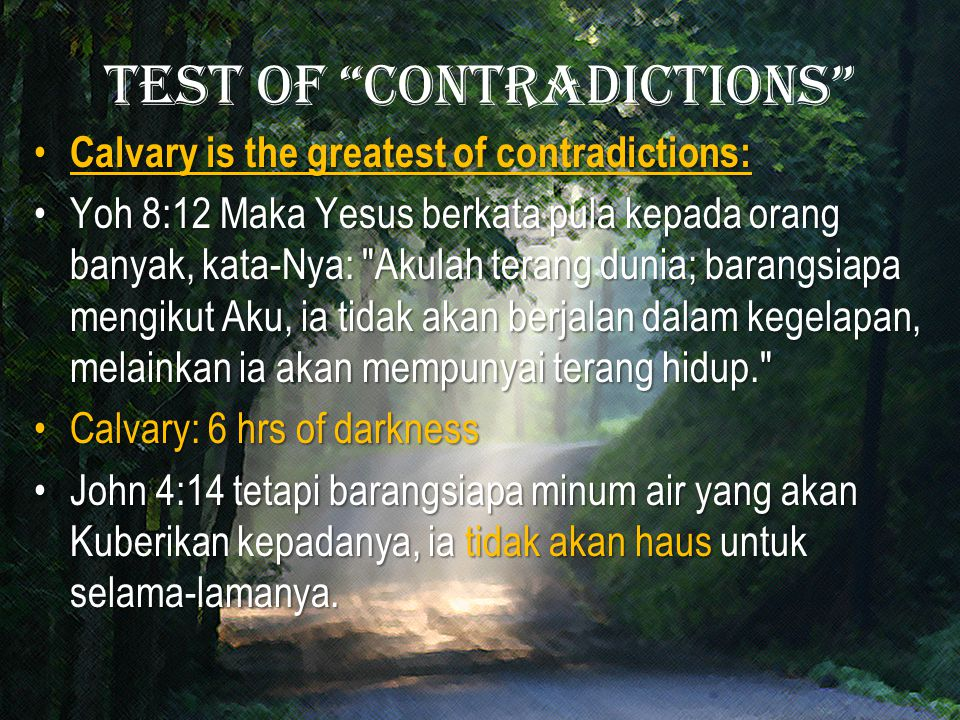 Test of contradictions