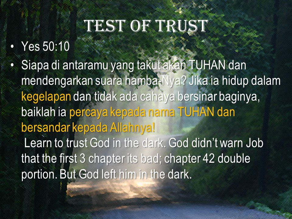 Test of trust Yes 50:10.