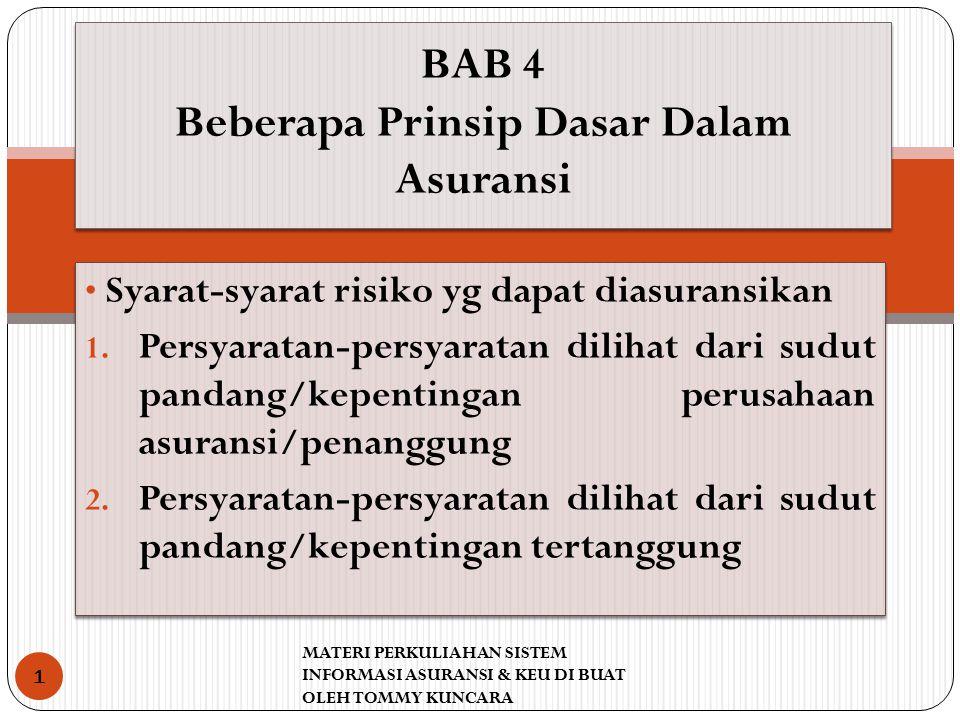 BAB 4 Beberapa Prinsip Dasar Dalam Asuransi