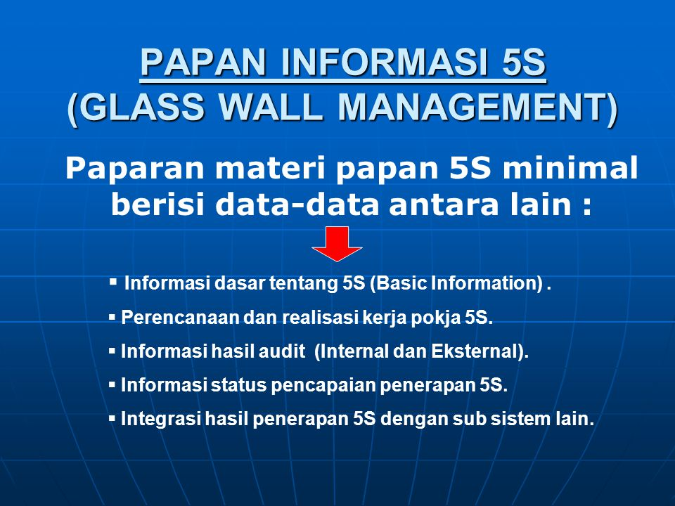 PAPAN INFORMASI 5S (GLASS WALL MANAGEMENT)