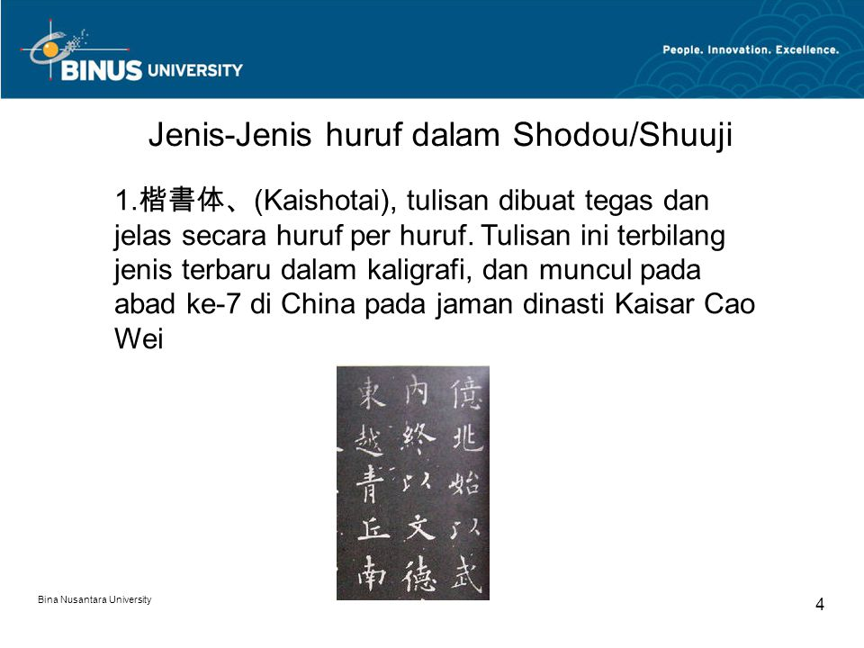 Jenis-Jenis huruf dalam Shodou/Shuuji