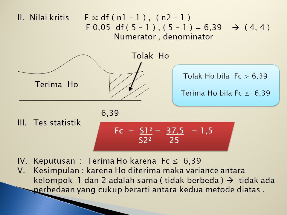 II. Nilai kritis F ∝ df ( n1 – 1 ) , ( n2 – 1 )