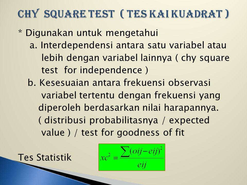 CHY SQUARE TEST ( Tes Kai Kuadrat )