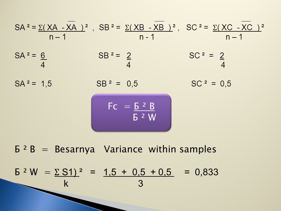 Б ² B = Besarnya Variance within samples