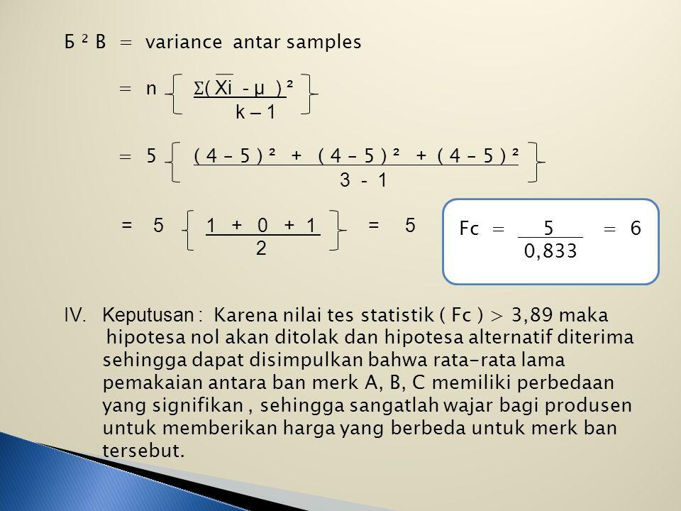 Б ² B = variance antar samples