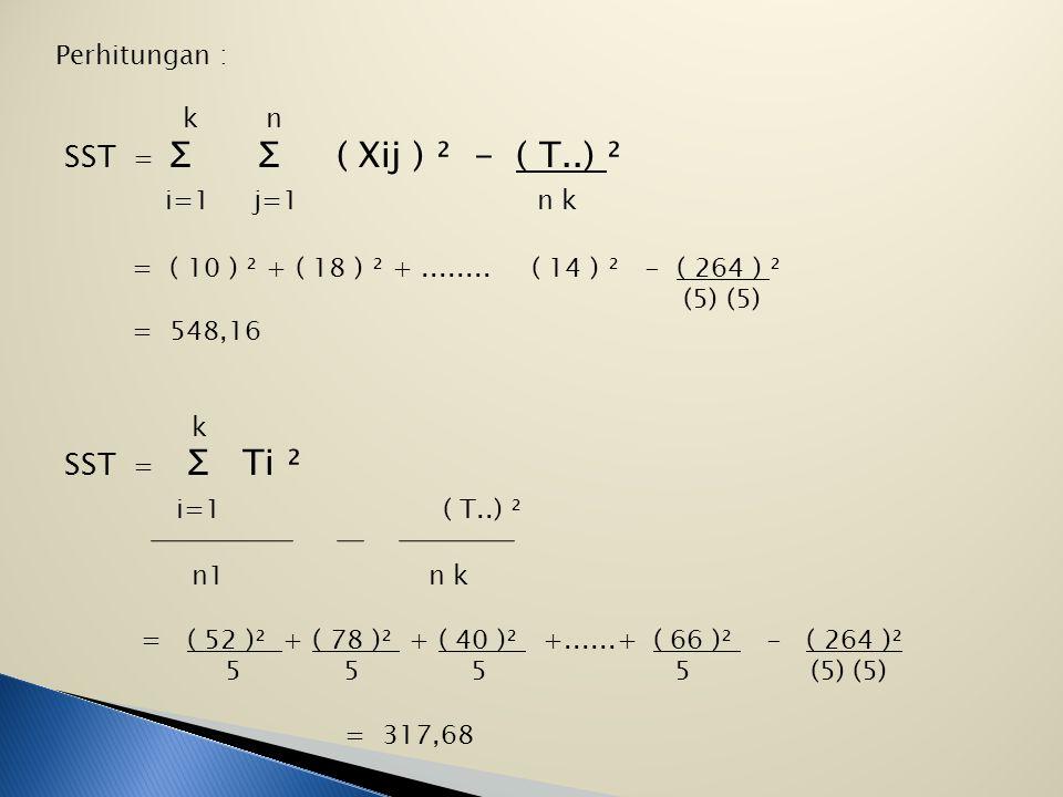 i=1 j=1 n k i=1 ( T..) ² SST = Ʃ Ʃ ( Xij ) ² - ( T..) ² SST = Ʃ Ti ²