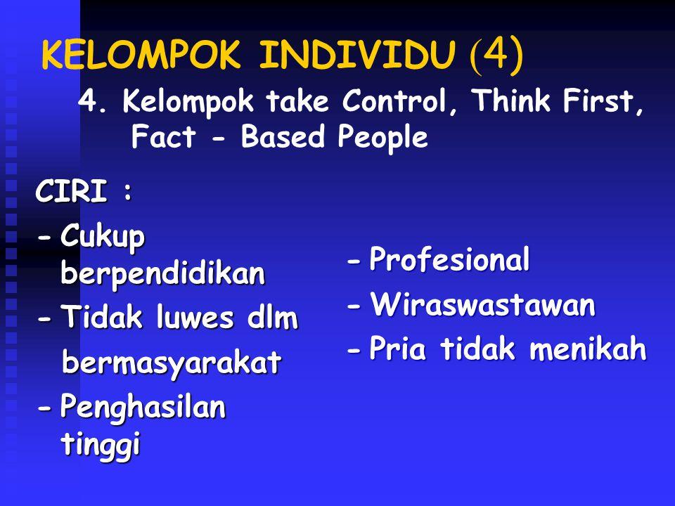 KELOMPOK INDIVIDU (4) CIRI : - Cukup berpendidikan - Profesional