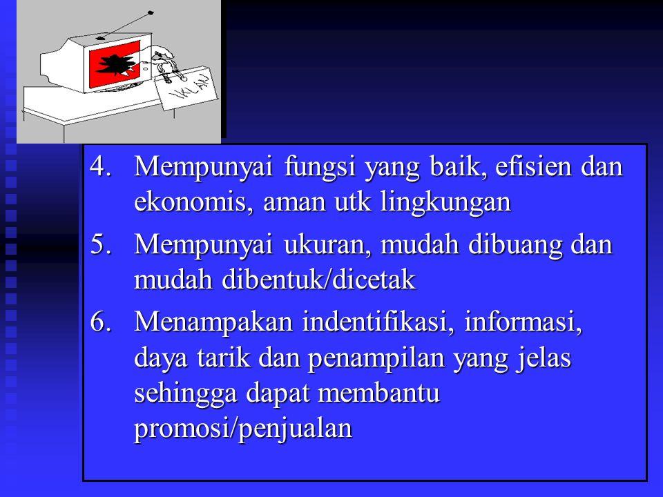 4. Mempunyai fungsi yang baik, efisien dan ekonomis, aman utk lingkungan