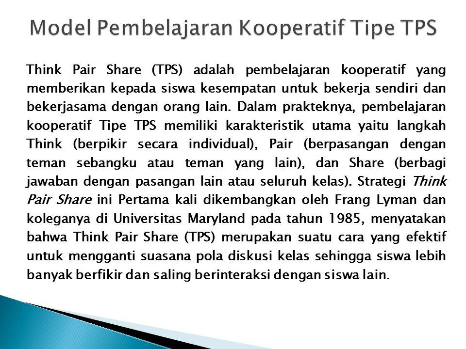 Model Pembelajaran Kooperatif Tipe TPS
