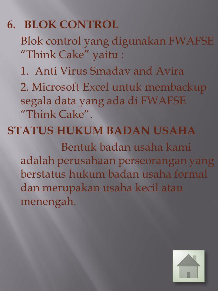 6. BLOK CONTROL Blok control yang digunakan FWAFSE Think Cake yaitu : 1.