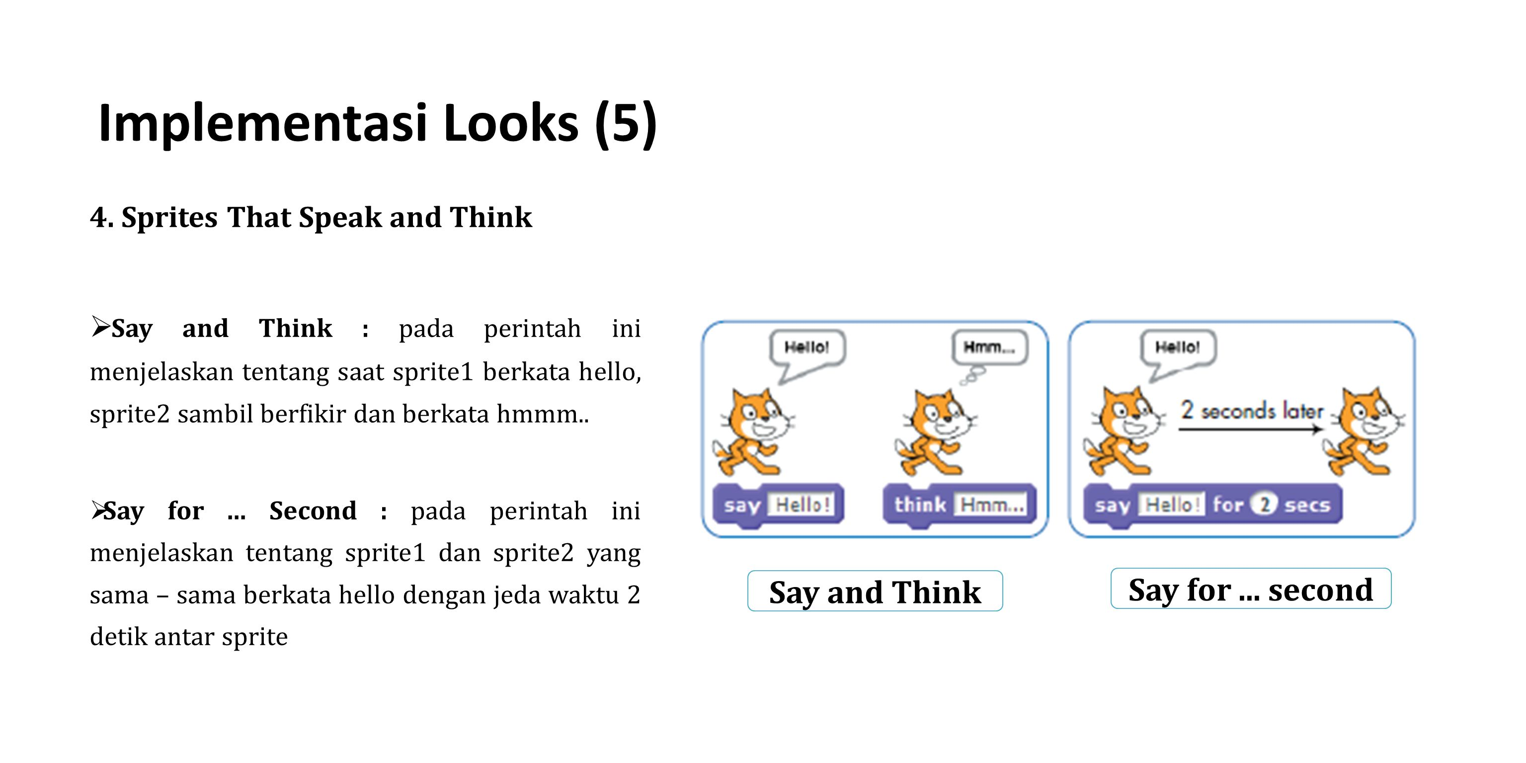 Implementasi Looks (5) Say for ... second Say and Think