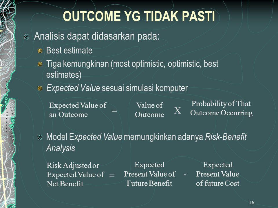 OUTCOME YG TIDAK PASTI Analisis dapat didasarkan pada: Best estimate