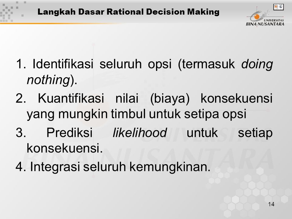 Langkah Dasar Rational Decision Making