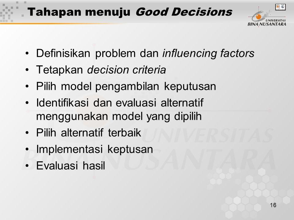 Tahapan menuju Good Decisions