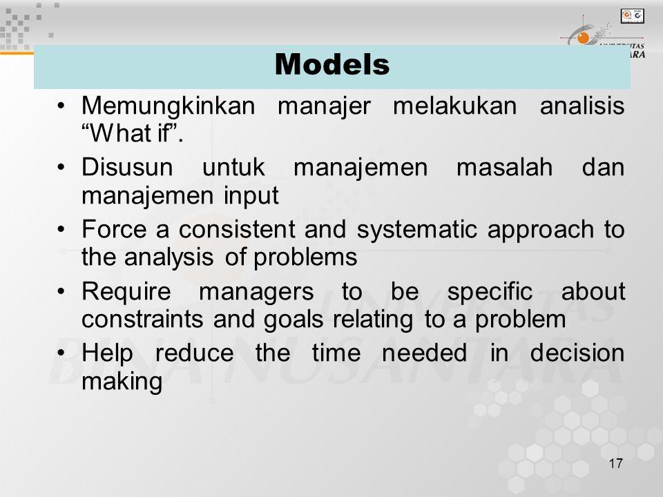 Models Memungkinkan manajer melakukan analisis What if .