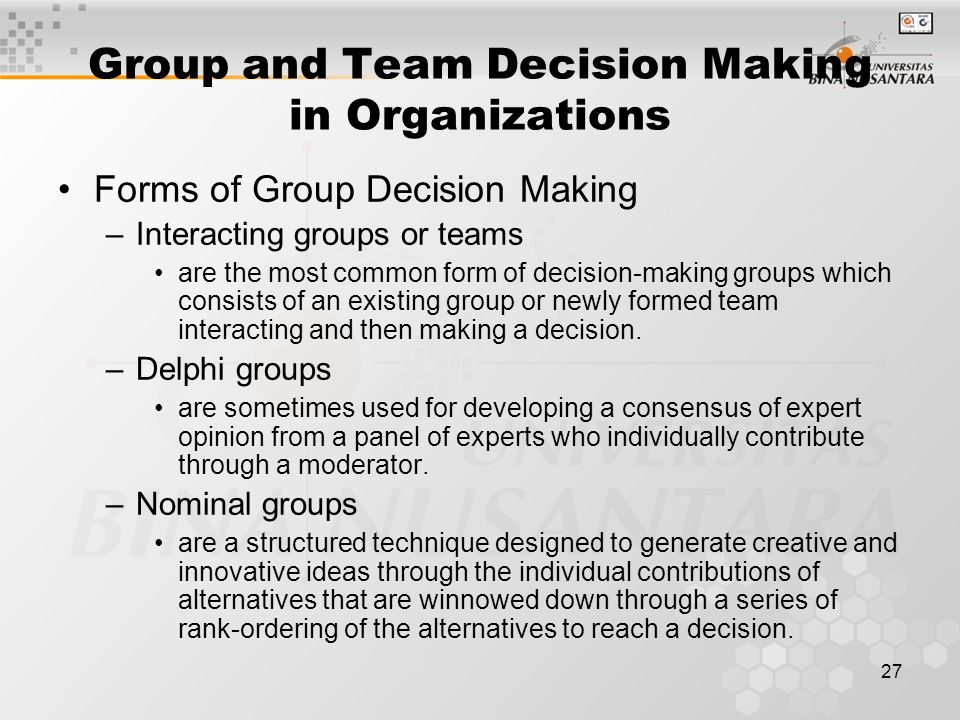 Group and Team Decision Making in Organizations