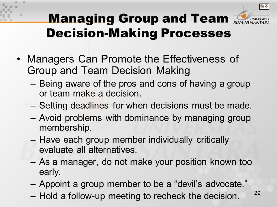Managing Group and Team Decision-Making Processes