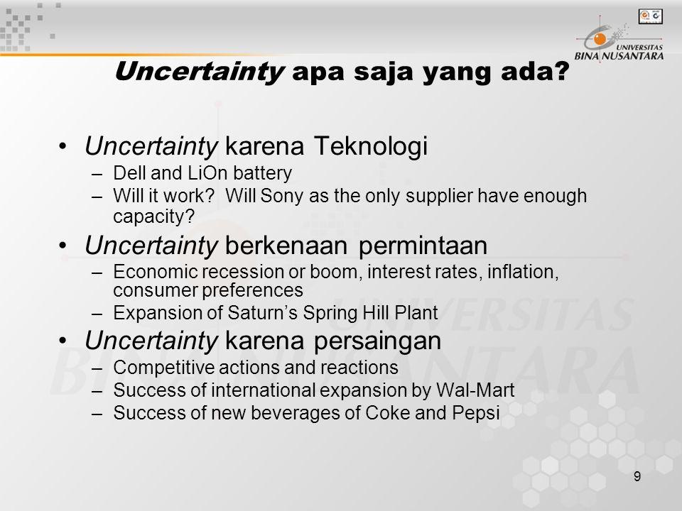 Uncertainty apa saja yang ada