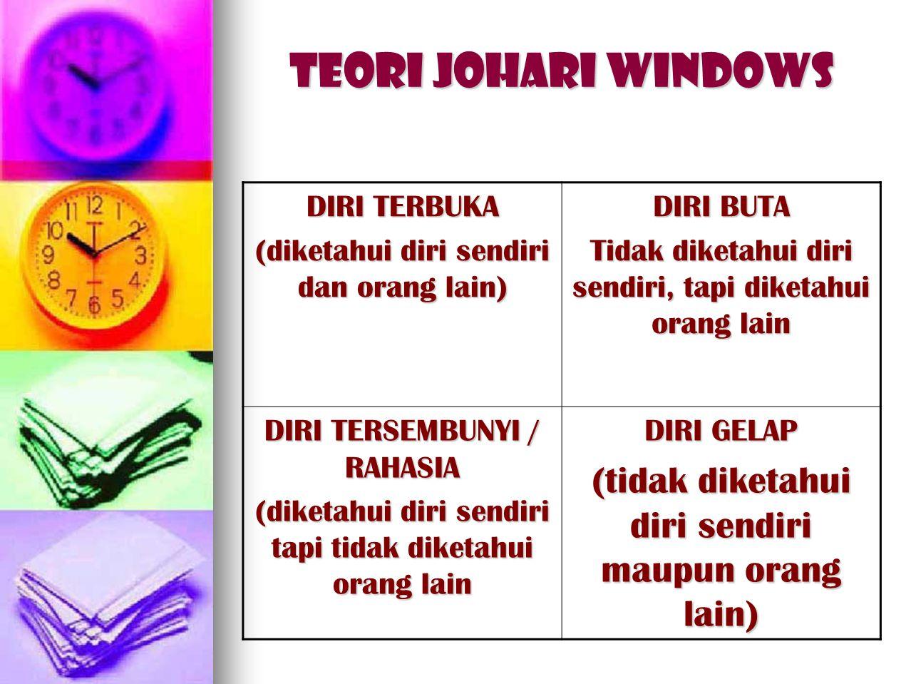 Teori JOHARI WINDOWS (tidak diketahui diri sendiri maupun orang lain)