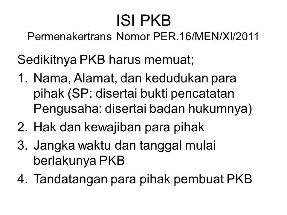 ISI PKB Permenakertrans Nomor PER.16/MEN/XI/2011
