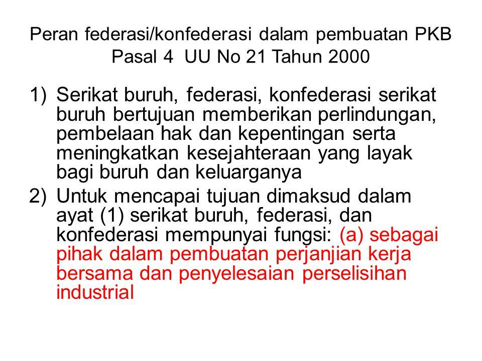 Peran federasi/konfederasi dalam pembuatan PKB Pasal 4 UU No 21 Tahun 2000
