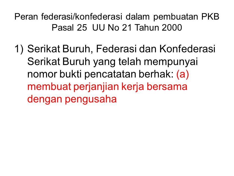 Peran federasi/konfederasi dalam pembuatan PKB Pasal 25 UU No 21 Tahun 2000