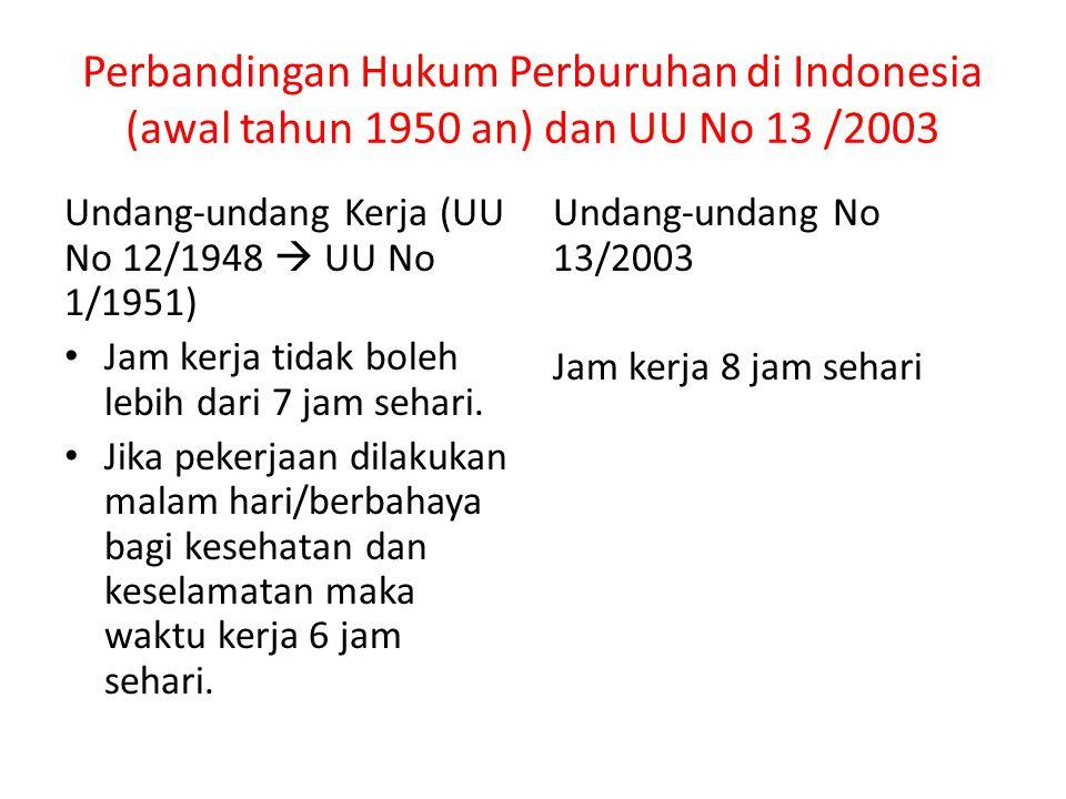 Perbandingan Hukum Perburuhan di Indonesia (awal tahun 1950 an) dan UU No 13 /2003