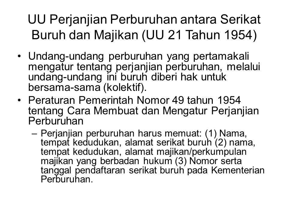UU Perjanjian Perburuhan antara Serikat Buruh dan Majikan (UU 21 Tahun 1954)