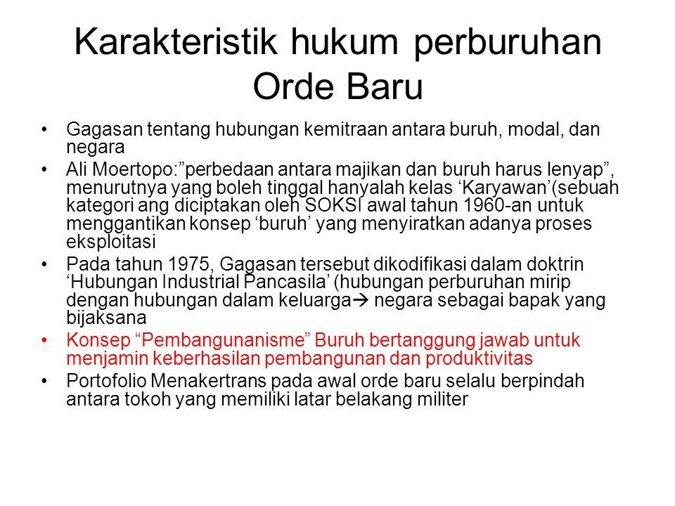 Karakteristik hukum perburuhan Orde Baru
