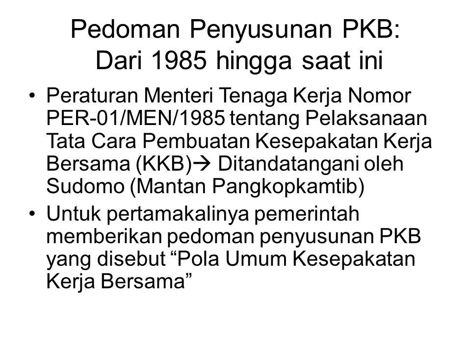 Pedoman Penyusunan PKB: Dari 1985 hingga saat ini