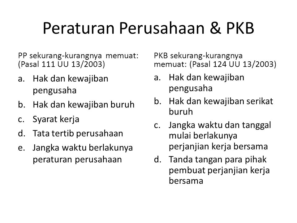 Peraturan Perusahaan & PKB