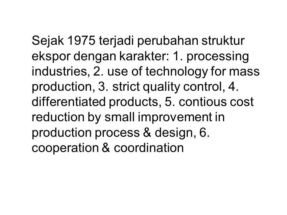 Sejak 1975 terjadi perubahan struktur ekspor dengan karakter: 1