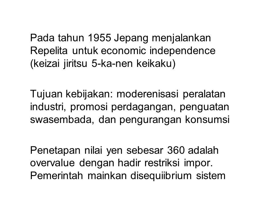 Pada tahun 1955 Jepang menjalankan Repelita untuk economic independence (keizai jiritsu 5-ka-nen keikaku)
