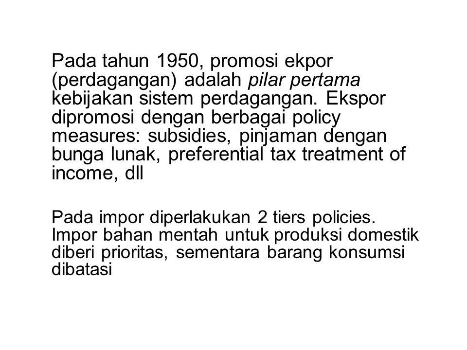 Pada tahun 1950, promosi ekpor (perdagangan) adalah pilar pertama kebijakan sistem perdagangan. Ekspor dipromosi dengan berbagai policy measures: subsidies, pinjaman dengan bunga lunak, preferential tax treatment of income, dll