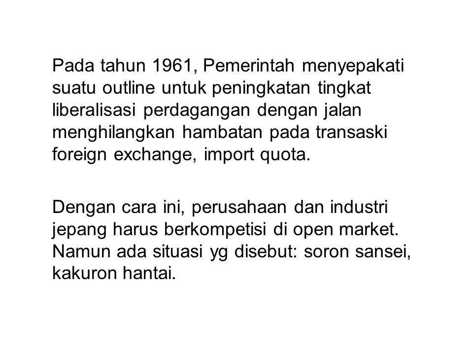 Pada tahun 1961, Pemerintah menyepakati suatu outline untuk peningkatan tingkat liberalisasi perdagangan dengan jalan menghilangkan hambatan pada transaski foreign exchange, import quota.