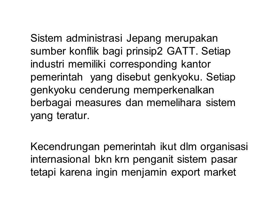 Sistem administrasi Jepang merupakan sumber konflik bagi prinsip2 GATT