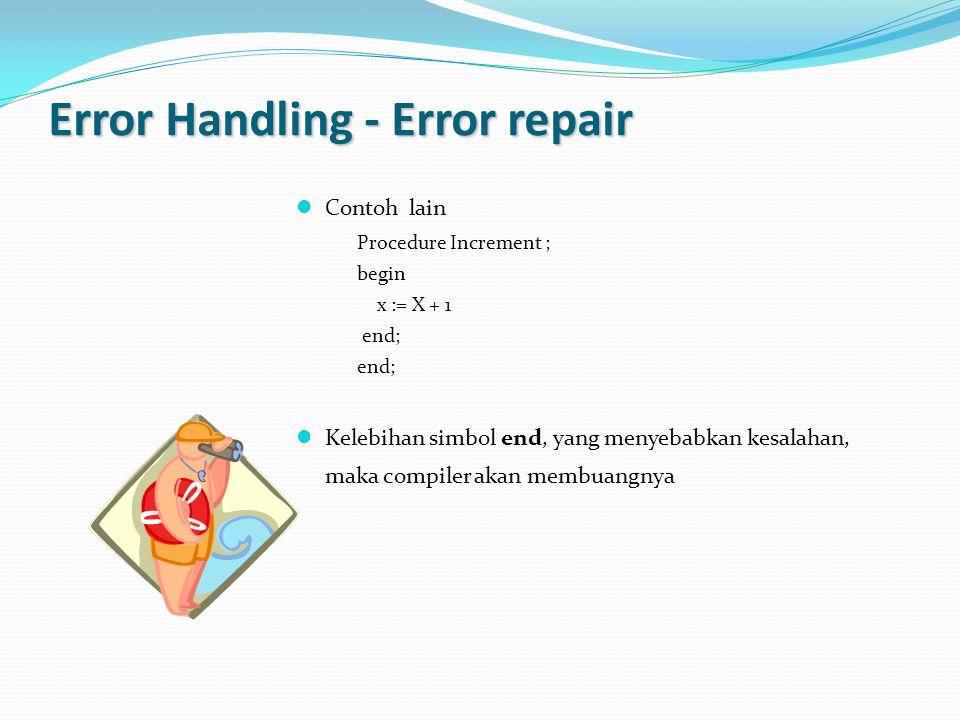 Error Handling - Error repair