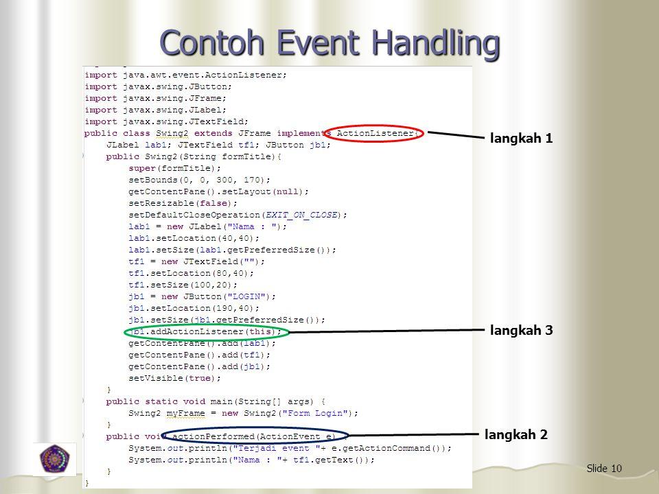 Contoh Event Handling langkah 1 langkah 3 langkah 2