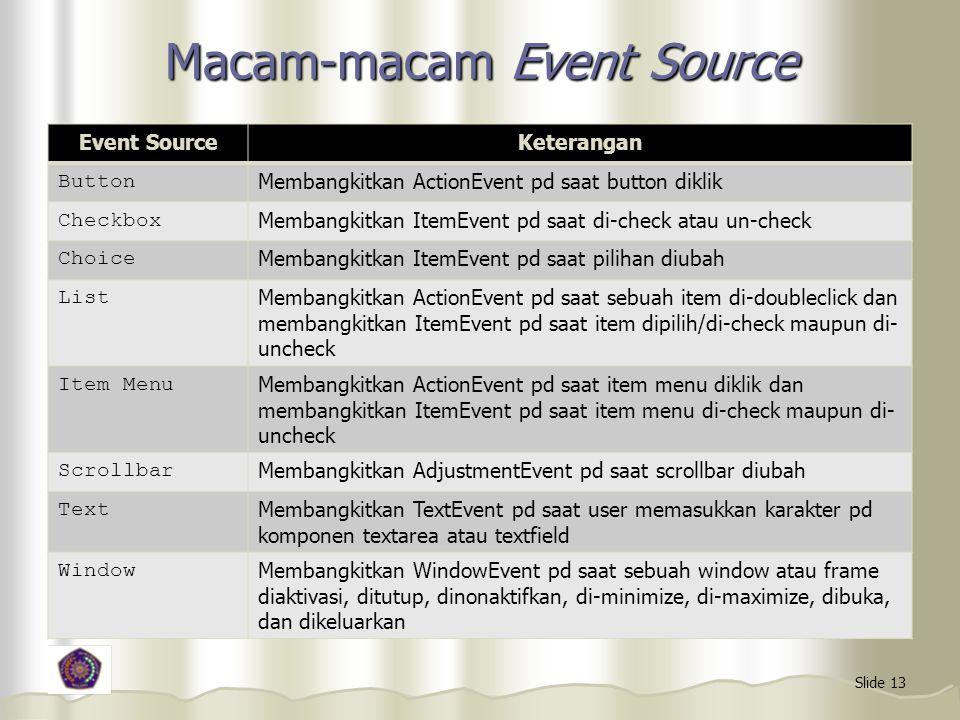 Macam-macam Event Source