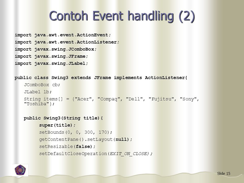 Contoh Event handling (2)
