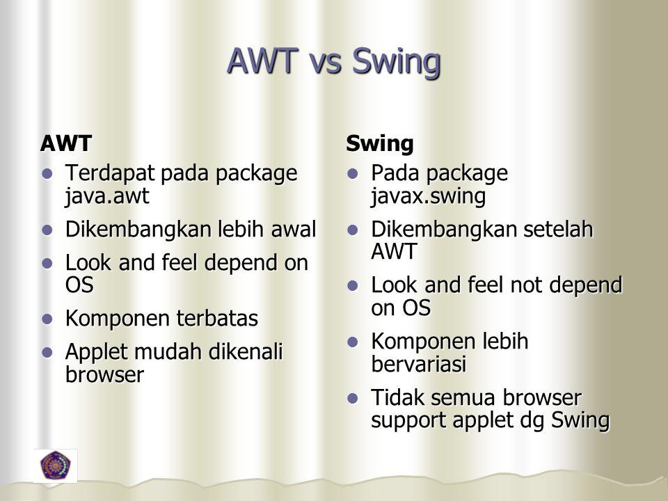 AWT vs Swing AWT Swing Terdapat pada package java.awt