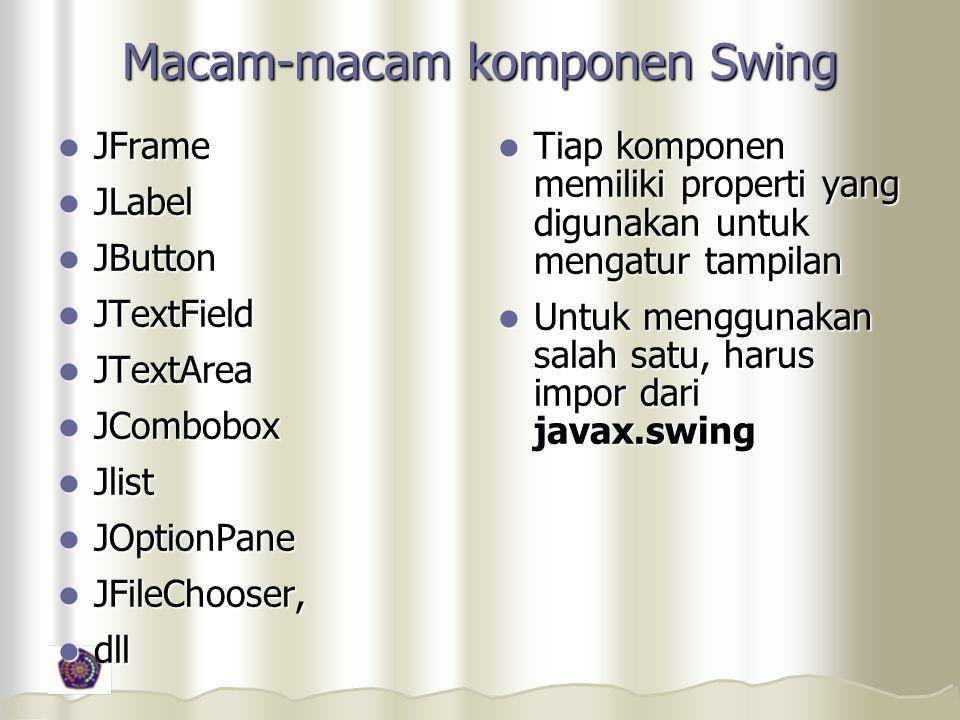 Macam-macam komponen Swing